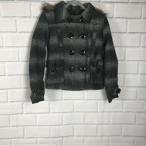 NWT Rue21 Wool Blend Plaid Faux Fur Hood Coat Sz S